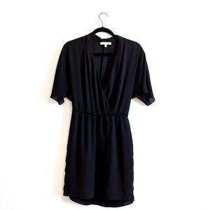 WAYF Sheer Wrap Surplice Dress